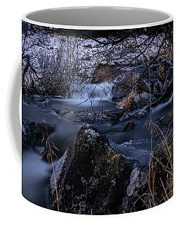Frozen River And Winter In Forest. Long Exposure With Nd Filter Coffee Mug
