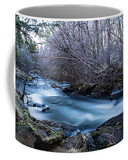 Frozen River Surrounded With Trees Coffee Mug