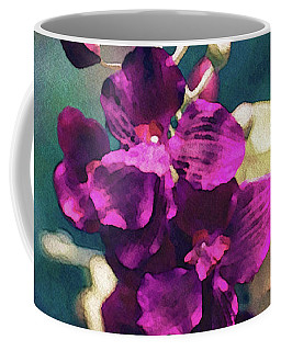 Coffee Mug featuring the mixed media Fuchsia Pink Vanda Orchid by Susan Maxwell Schmidt