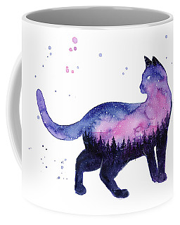 Galaxy Forest Cat Coffee Mug