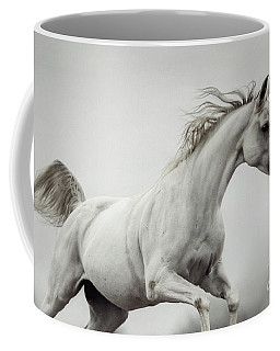 Coffee Mug featuring the photograph Galloping White Horse by Dimitar Hristov