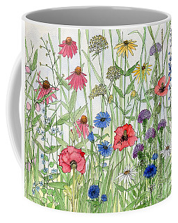 Garden Flower Medley Watercolor Coffee Mug