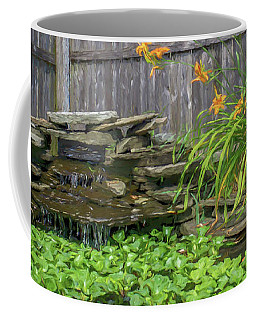Garden Pond With Orange Day Lilies Coffee Mug