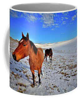 Coffee Mug featuring the photograph Geldings In The Snow by David Patterson
