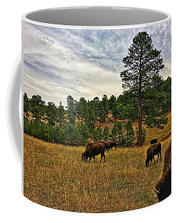 Coffee Mug featuring the photograph Genesee Bison Herd by Dan Miller