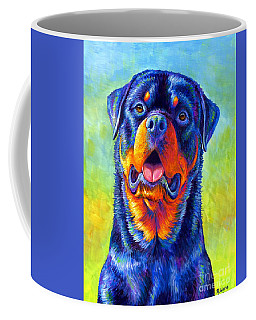 Gentle Guardian Colorful Rottweiler Dog Coffee Mug
