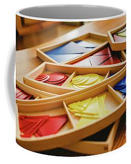 Geometric Material In Montessori Classroom For The Learning Of Children In Mathematics Area. Coffee Mug