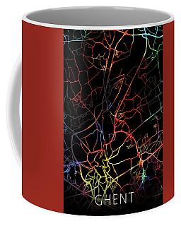 Ghent Belgium Watercolor City Street Map Dark Mode Coffee Mug