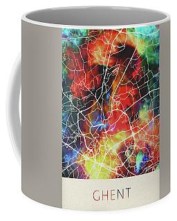 Ghent Belgium Watercolor City Street Map Coffee Mug