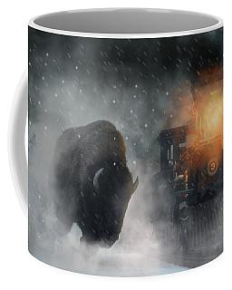 Giant Buffalo Attacking Train Coffee Mug
