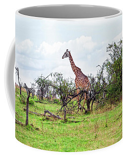Coffee Mug featuring the photograph Giraffe Landscape by Kay Brewer