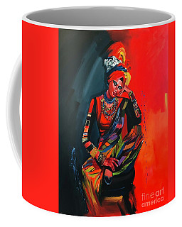 Coffee Mug featuring the painting Goddess Of Colors by Nizar MacNojia