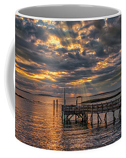 Coffee Mug featuring the photograph Godrays Over The Pier by Guy Whiteley