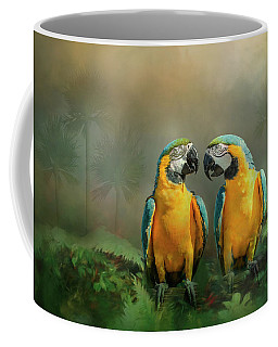 Gold And Blue Macaw Pair Coffee Mug