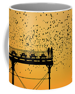 Golden Hour Starlings Over Aberyswyth Pier Coffee Mug
