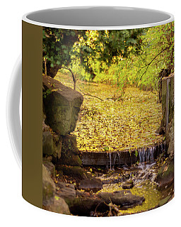 Coffee Mug featuring the photograph Golden Leaf River by Scott Lyons