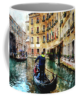 Gondola Traffic Near Piazza San Marco In Venice, Italy - Watercolor Effect Coffee Mug