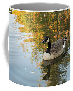 Coffee Mug featuring the photograph Goose Reflecting In Water by Scott Lyons