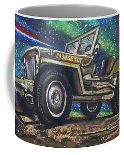 Coffee Mug featuring the pastel Grandpa Willie's Willys Jeep by Eric Dee