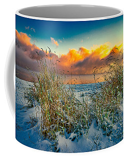 Grass And Snow Sunrise Coffee Mug