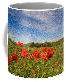 Grassland And Red Poppy Flowers 3 Coffee Mug