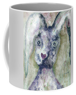 Coffee Mug featuring the painting Gray Bunny Love by Claire Bull