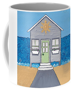 Gray Cottage On The Beach Coffee Mug