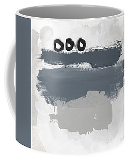 Coffee Mug featuring the mixed media Grayscale 1- Abstract Art By Linda Woods by Linda Woods