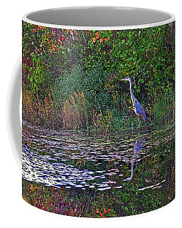 Great Blue Heron In Autumn Coffee Mug