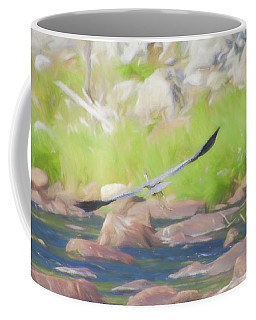 Great Blue Heron In Flight. Coffee Mug