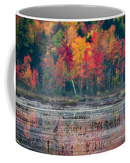 Coffee Mug featuring the photograph Great Blue Heron On Loon Lake by Brad Wenskoski