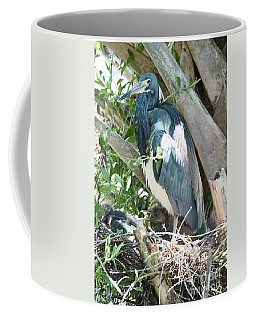 Great Blue Heron On Nest With Baby Coffee Mug