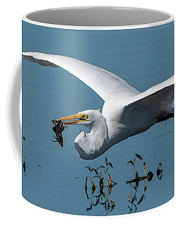 Great Egret Flying With Fish Coffee Mug