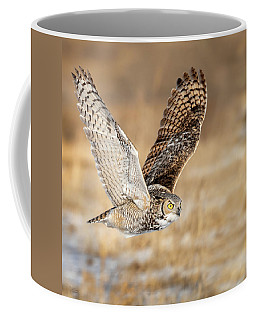 Great Horned Owl In Flight Coffee Mug