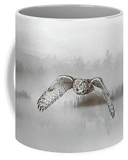 Great Horned Owl Soars Bw Coffee Mug