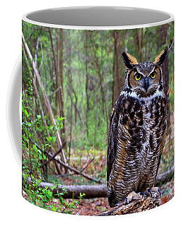 Great Horned Owl Standing On A Tree Log Coffee Mug