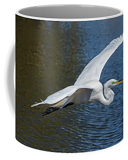 Great White Egret In Flight Coffee Mug