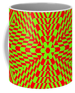 Coffee Mug featuring the painting Green And Red Fusion  by Arttantra