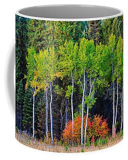 Green Aspens Red Bushes Coffee Mug