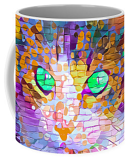 Green Eyed Cat Abstract Coffee Mug