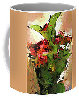 Green Leaves And The Red Flower Coffee Mug