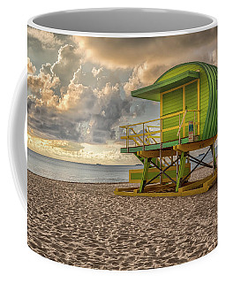 Coffee Mug featuring the photograph Green Lifeguard Stand by Alison Frank