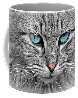 Grey Cat With Blue Eyes Coffee Mug