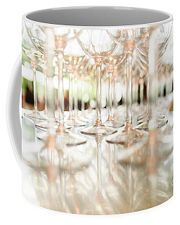 Group Of Empty Transparent Glasses Ready For A Party In A Bar. Coffee Mug