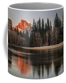 Coffee Mug featuring the photograph Half Dome Sunset In Winter by Mike Long