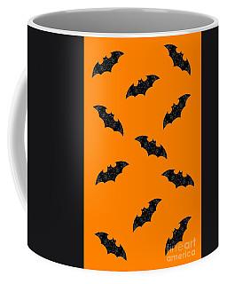 Coffee Mug featuring the mixed media Halloween Bats In Flight by Rachel Hannah