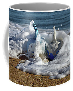 Coffee Mug featuring the photograph Halloween Blue And White Pumpkins In The Surf by Bill Swartwout Fine Art Photography