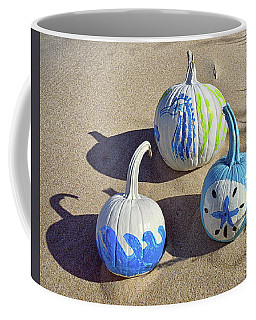 Coffee Mug featuring the photograph Halloween Blue And White Pumpkins On A Dune by Bill Swartwout Fine Art Photography