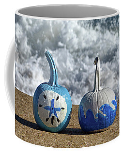Coffee Mug featuring the photograph Halloween Blue And White Pumpkins On The Beach by Bill Swartwout Fine Art Photography