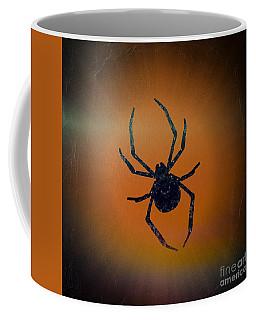 Coffee Mug featuring the mixed media Halloween Spider  by Rachel Hannah